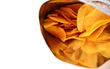 potato chips in bag on white background with copy space.