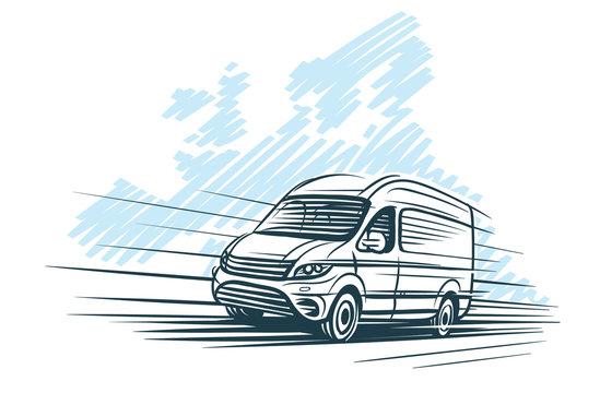Sketch of van in front of european map sketch. Vector.