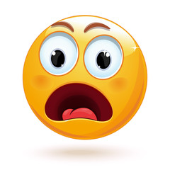 Shocked face emoji. Cute surprised and frightened face emoticon. Panic emoticon. Vector illustration isolated on white background