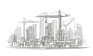 Construction site sketch. Vector.