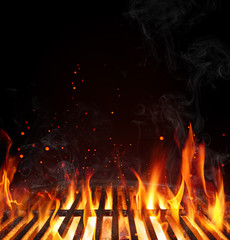 Photo on textile frame Grill / Barbecue Grill Background - Empty Fired Barbecue On Black