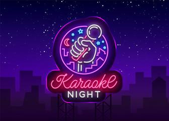 Karaoke night vector. Neon sign, luminous logo, symbol, light banner. Advertising bright night karaoke bar, party, disco bar, night club. Live music. Design template. Billboard