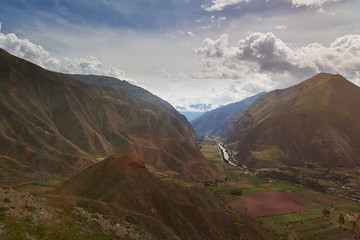 Green valley in Peru Andes