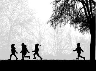 Children running in the park.