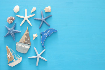 nautical, vacation and travel banner with sea life style objects. Top view.