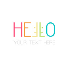slim rectangular rainbow lettering hello word design with smiling faces great for your blog, website, t-shirt, greeting card, poster and other