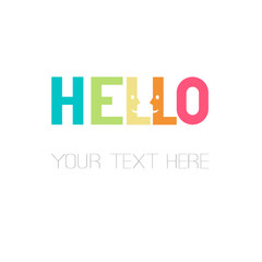 hello smooth rectangular rainbow lettering word design with smiling faces great for your blog, website, t-shirt, greeting card, poster and other