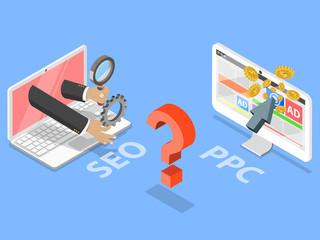 SEO vs PPC flat isometric vector concept. Comparison pay per click and search engine optimization marketing.