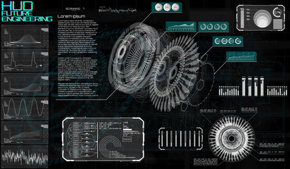 Technology elements. HUD UI design. Head up display, futuristic engineering with infographics and statistics of data gear in style HUD. Modern technology elements for game, GUI, UI design. Vector
