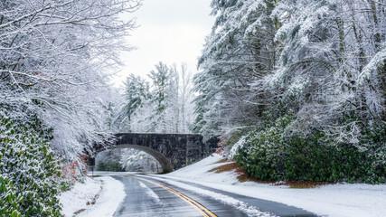 Blue Ridge Parkway entrance in winter near Linville