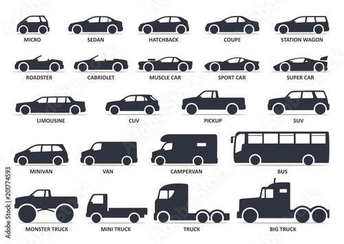 """Car type icons set. Model automobile. Vector black ..."