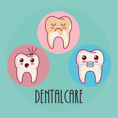 dental care kawaii characters vector illustration design