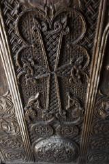 Fragment of ornamental door in the monastery complex Sevanavank located on the northwest coast of Sevan in the province of Armenia Gegharkunik, near the city of Sevan
