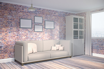 Brick living room with empty poster side