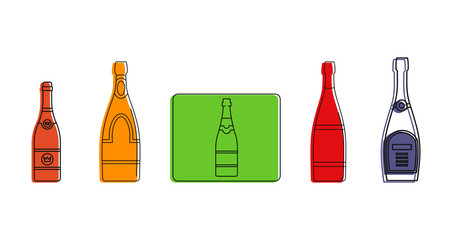Champagne icon set. Color outline set of champagne vector icons for web design isolated on white background