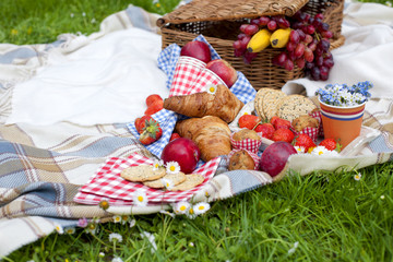 picnic basket and food. Green meadow with flowers. Spring in the Netherlands. holidays