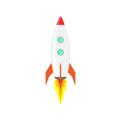 Rocket ship icon vector. Flat isolated vector illustration spaceship, on a white background.
