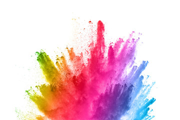 abstract powder splatted background. Colorful powder explosion on white background. Colored cloud. Colorful dust explode. Paint Holi. Fotoväggar