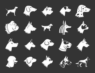 Dog icon set vector white isolated on grey background