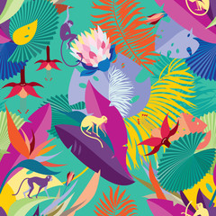 Seamless Hawaiian pattern. Pattern with tropical plants and monkeys. Background for textile, manufacturing, book covers, wallpapers, print or gift wrap.