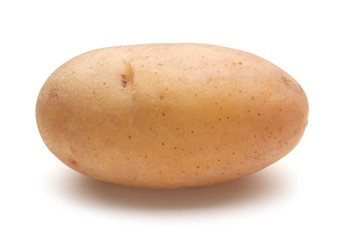 Wall Mural - single raw potato isolated on white background