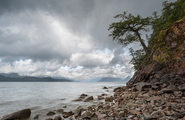 A storm passing over Harrison lake, canada