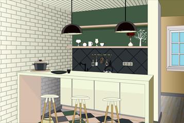 Kitchen interior background with furniture. Design of modern kitchen. Symbol furniture. Kitchen illustration