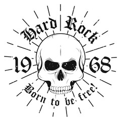 """Hard rock graphic design with skull and slogan """"Born to be free"""" for t-shirt print. T-shirt graphic design in hipster style. Hard rock music poster"""