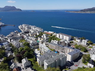 Alesund city in Norway - viewpiont on Aksla Fjellstua