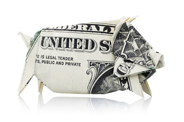 Origami: Piggy bank of one American dollar in pig shape, isolated on white background