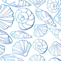 Seamless pattern from different kinds of sea shells. One-color silhouettes on white background. Vector illustration in sketch style.