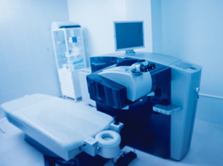 Ophthalmic laser system in eye surgery clinic. Laser treatmnet for myopia