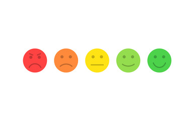 Feedback vector concept. Rank, level of satisfaction rating. Excellent, good, normal, bad awful. Feedback in form of emotions, smileys, emoji. User experience. Review of consumer.