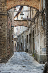 Wall Mural - Medieval town of Tuscany, Old street, Italy