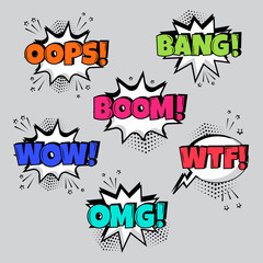 Set of comic speech bubbles with different emotions and Boom, Wow, Wtf, Bang, Oops words. Vector illustration.