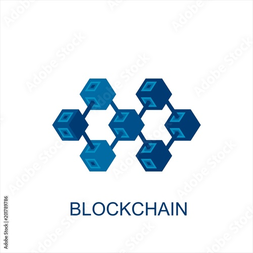 Blockchain technology or bussines vector icon in flat style