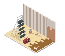 Home repair realistic low poly isometric vector illustration