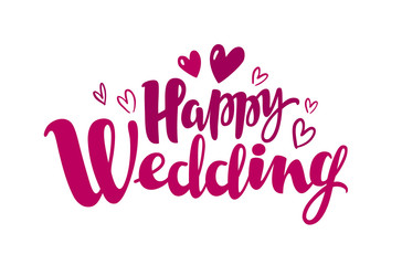 Happy wedding, lettering. Marriage, marry concept. Handwritten inscription, calligraphy vector