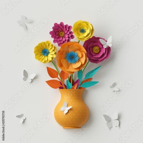 3d Render Cute Paper Flowers Botanical Background Floral Bouquet