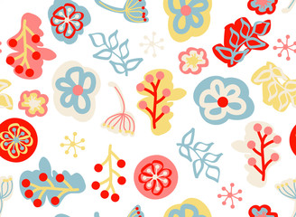 Seamless pattern with hand-drawn floral elements in doodle style, vector
