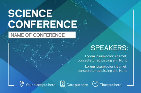 Science conference business design template. Science brochure flyer marketing advertising meeting