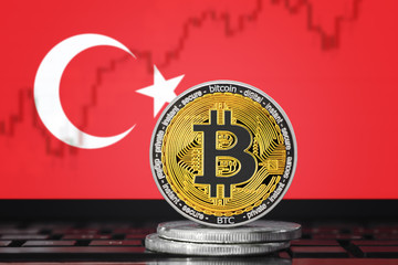 BITCOIN (BTC) cryptocurrency; coin bitcoin on the background of the flag of Turkey
