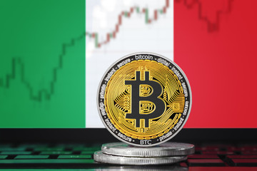 BITCOIN (BTC) cryptocurrency; coin bitcoin on the background of the flag of Italy (Italian Republic)