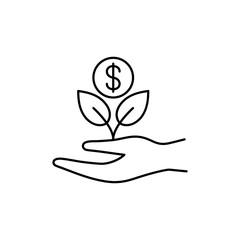 money tree plant growth line black vector icon