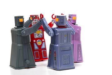 Vintage tin robot toys