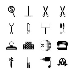 icon Instruments And Tools with build, sharp, food, map and search