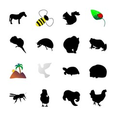icon Animal with elephant, simple, frog, acorn and flower