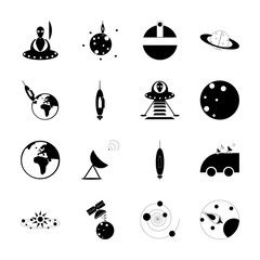 icon Cosmos with gps, astrology, astro, solar system and mercury
