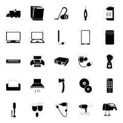 icon Technology with power supply, plug, communication, music and climate
