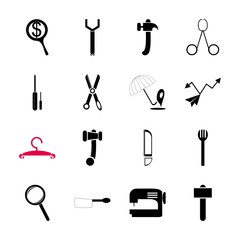 icon Instruments And Tools with app, screwdriver, care, saw and drawing